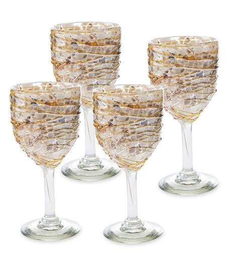 Shimmer Swirled Recycled Glass Goblets, Set of 4