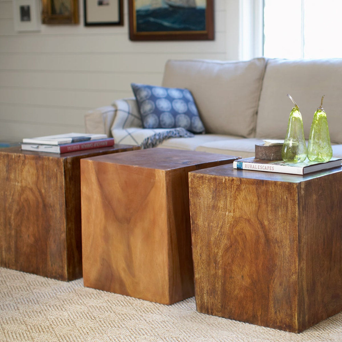 Convertible Wood Cube Accent Tables Living Room