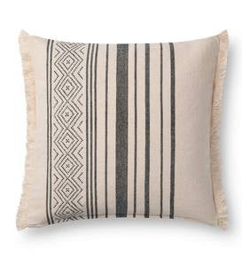 Black Geo Striped Fringe Throw Pillow