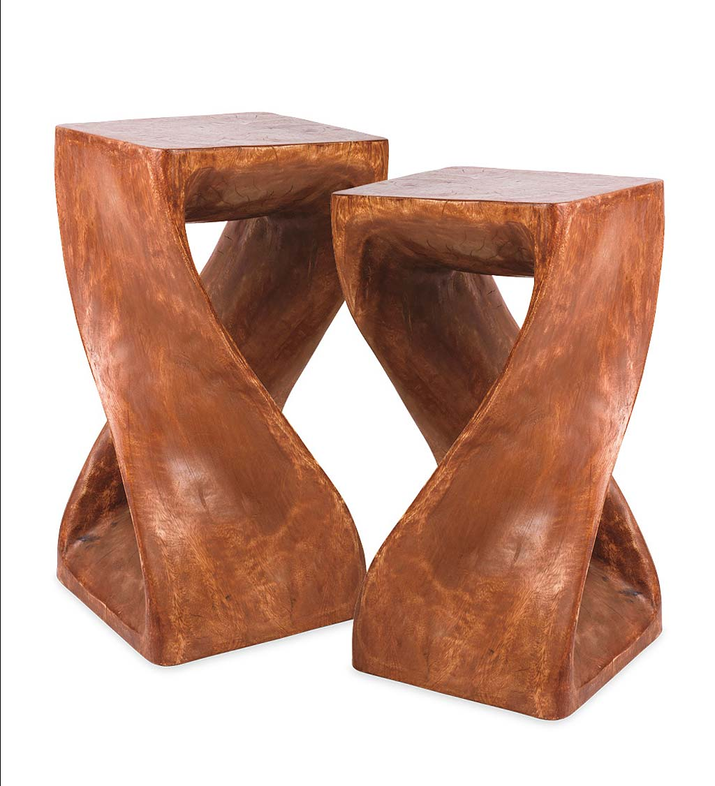 Set of 2 Handcarved Twisty Stools- 18""