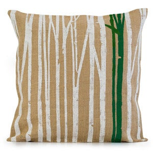 Burlap Branches Pillow Cover - Green