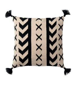 "Black and White Geo Print Tasseled Outdoor 22"" Square Throw Pillow"
