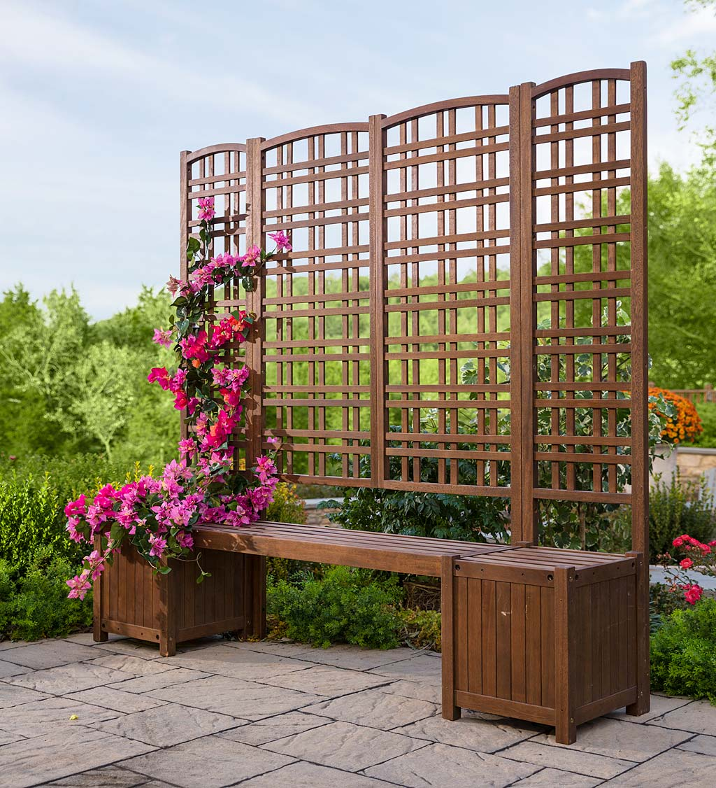 Outdoor Eucalyptus Configurable Privacy Screen Trellises, Planter/Seat and Bench