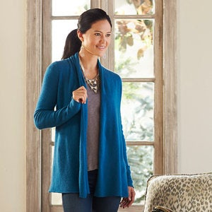Lightweight Cashmere Duster Cardigan - Blue - Extra Large