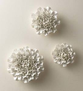 Gold-Rimmed White Ceramic Wall Flowers, Set of 3