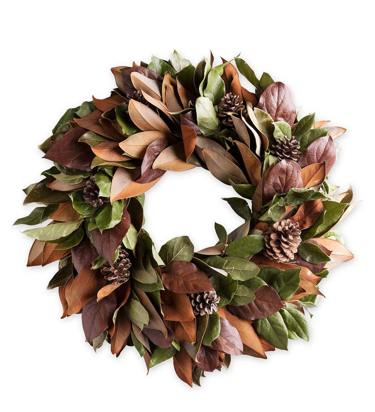 Magnolia and Pinecone Wreath with Hanger