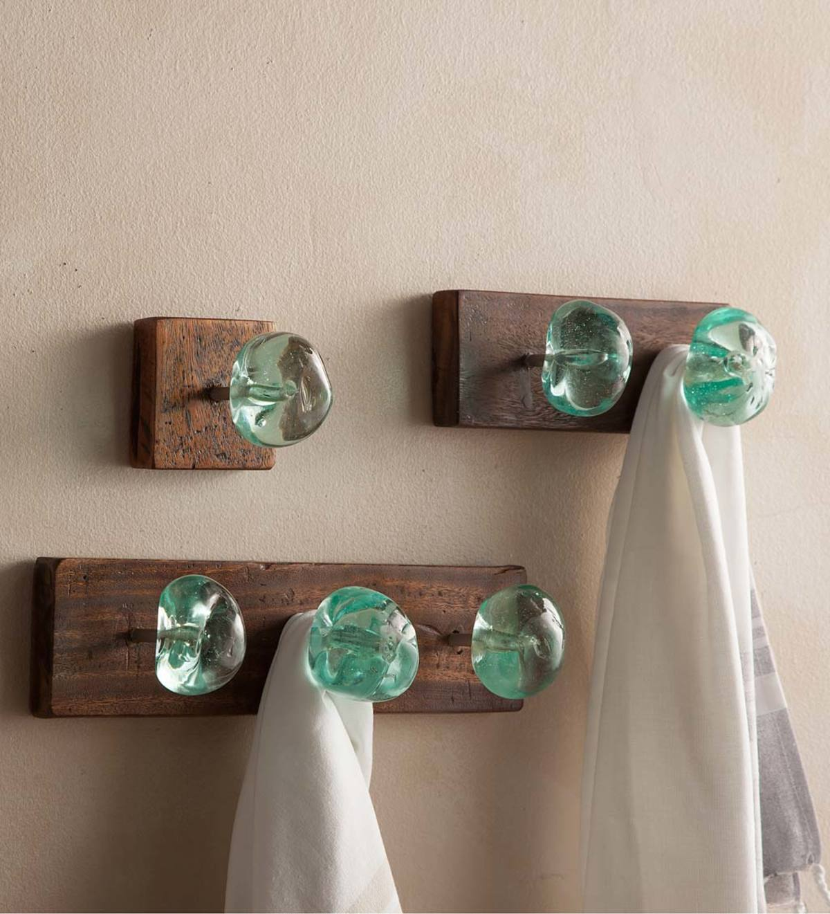 Recycled Glass and Reclaimed Wood Hooks