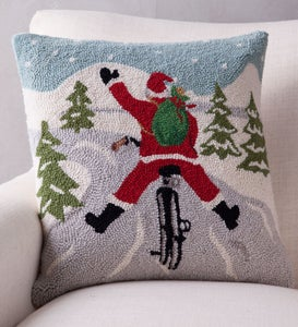 Hand-Hooked Wool Santa on Bike Pillow