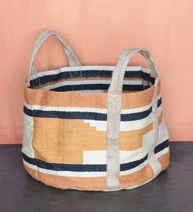 Woven Storage Tote - Brown