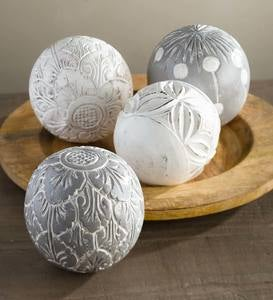 Carved White Washed Wood Balls, Set of 4