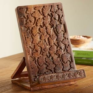 Handcarved Ginkgo Cookbook & iPad Holder