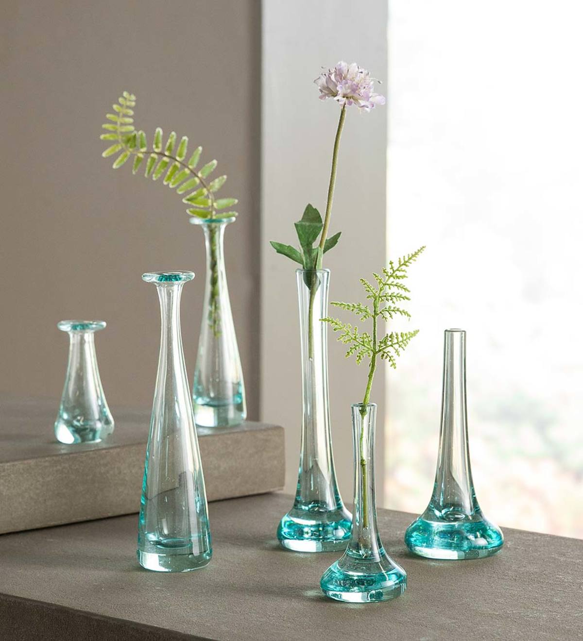 Set of 3 Recycled Glass Bud Vases - Pooled Bottoms