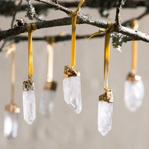 Gold-Tipped Quartz Crystal Ornaments, Set of 6