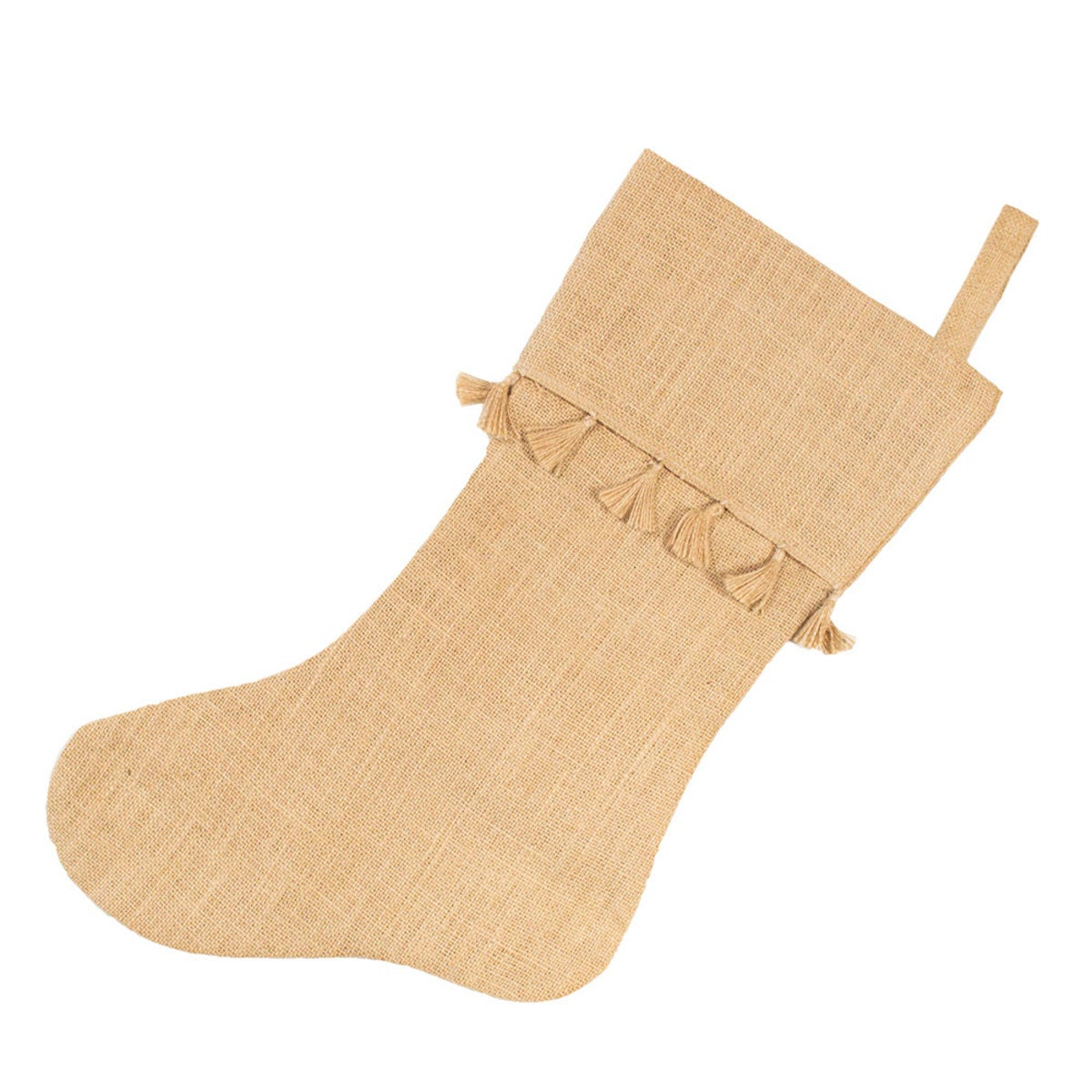 Burlap Stocking with Tassels