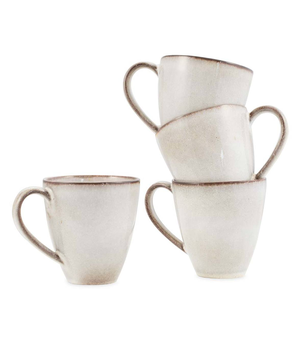 Farmstead 10oz. Stoneware Tall Mugs, Set of 4 - Bisque