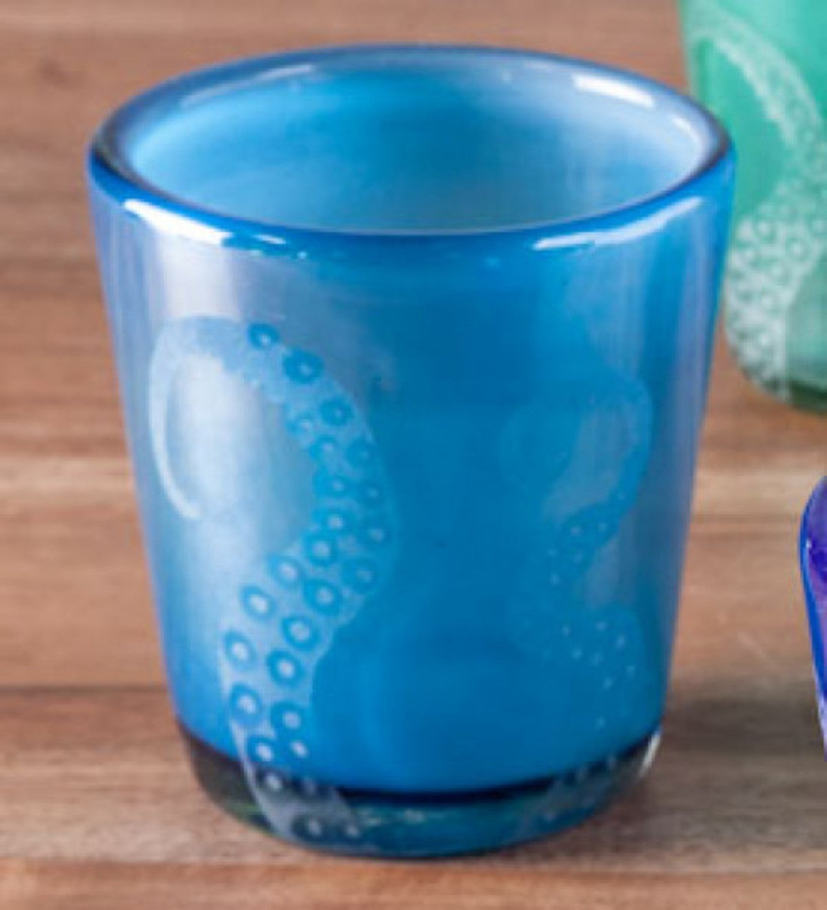 Hand-Etched Recycled Glass Small Octopus Tumblers - Set of 4 - Turquoise