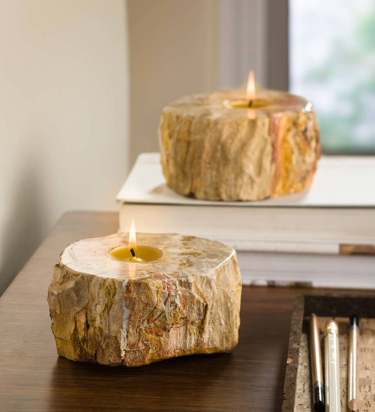 Fossil Tea Light Candle Holder