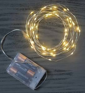 60 White Bendable LED String Lights - Silver Wire