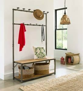 Reclaimed Teak Mudroom Bench & Coat Rack