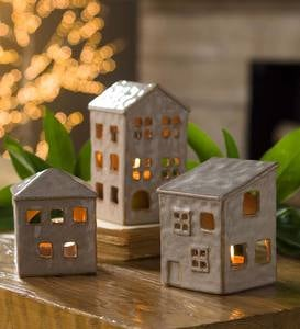 Ceramic Holiday Village Tealight Holders