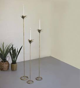 Tall Antique Brass Palm Taper Candle Towers, Set of 3