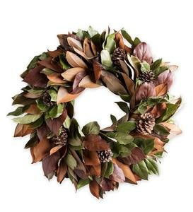Magnolia and Pinecone Wreath