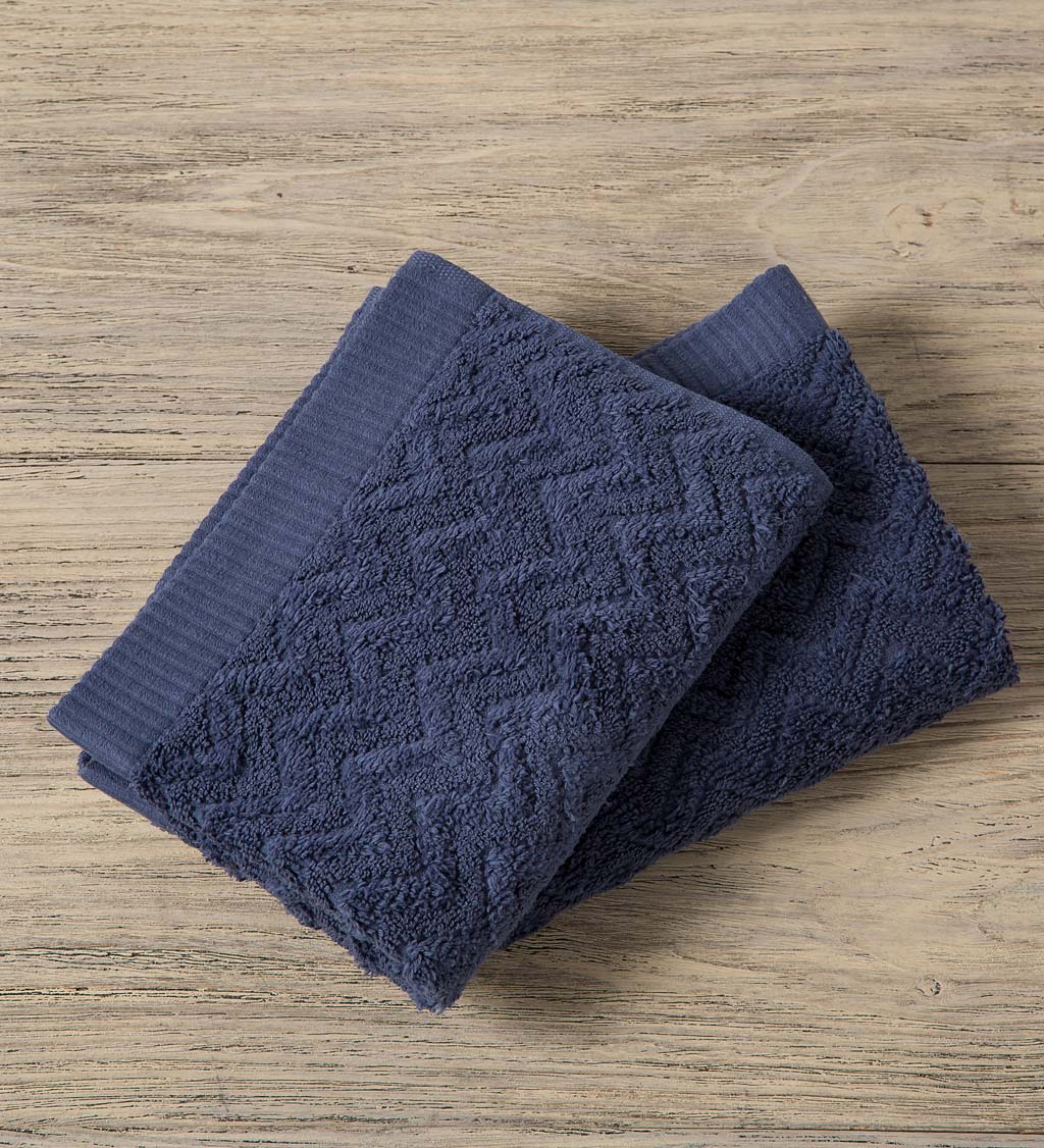 Chevron Cotton Velour Wash Cloths, Set of 2