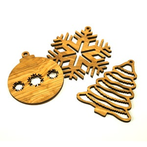 Olive Wood Trio of Ornaments - Set of 3