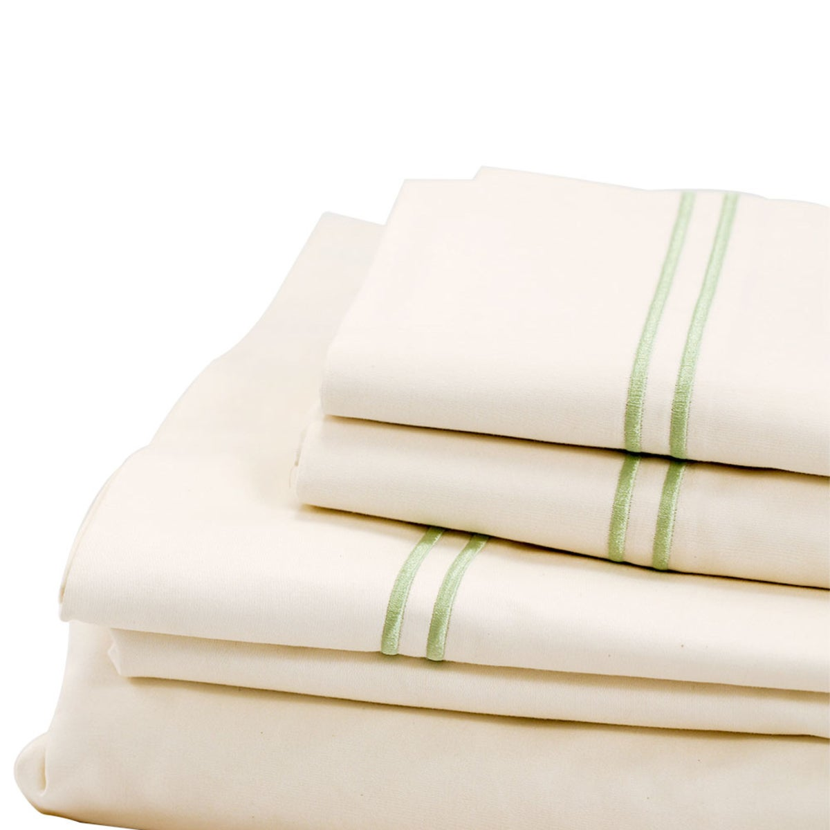 500 Thread Count Sateen Satin Stitch King Sheet Set - Ivory, Aloe