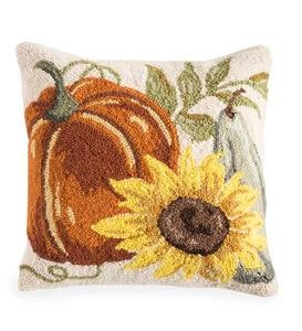 "Pumpkin and Sunflower Hand-Hooked Pillow, 16""Sq"