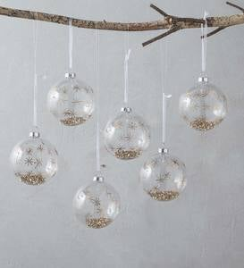 Set of 6 Small Glass Star Ball Ornaments