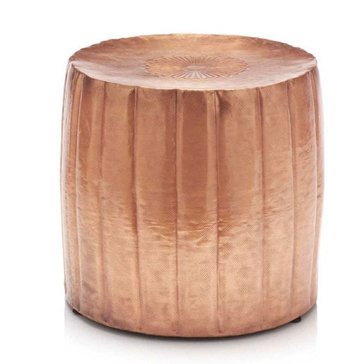 Low Hammered Drum Accent Table