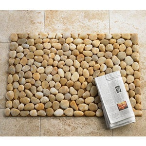 Smooth River Rock Stone Floor Mat, Indoor/ Outdoor