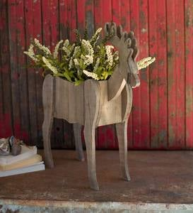 Wooden Deer Planter