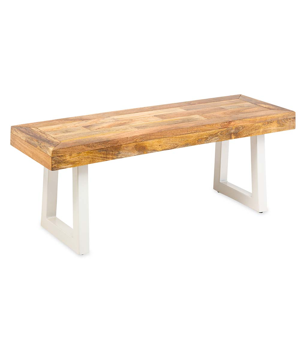 Acacia Wood Bench with White Metal Legs