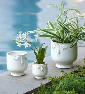 Happy Face Planters, Set of 3