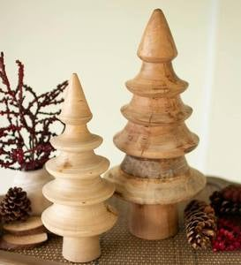 Tiered Turned Wood Holiday Trees, Set of 2