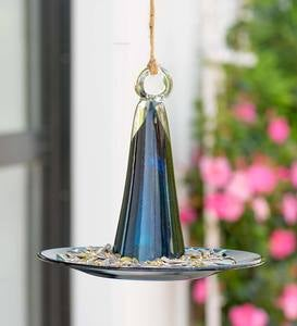 Pyramid Recycled Glass Bird Feeder - Amethyst