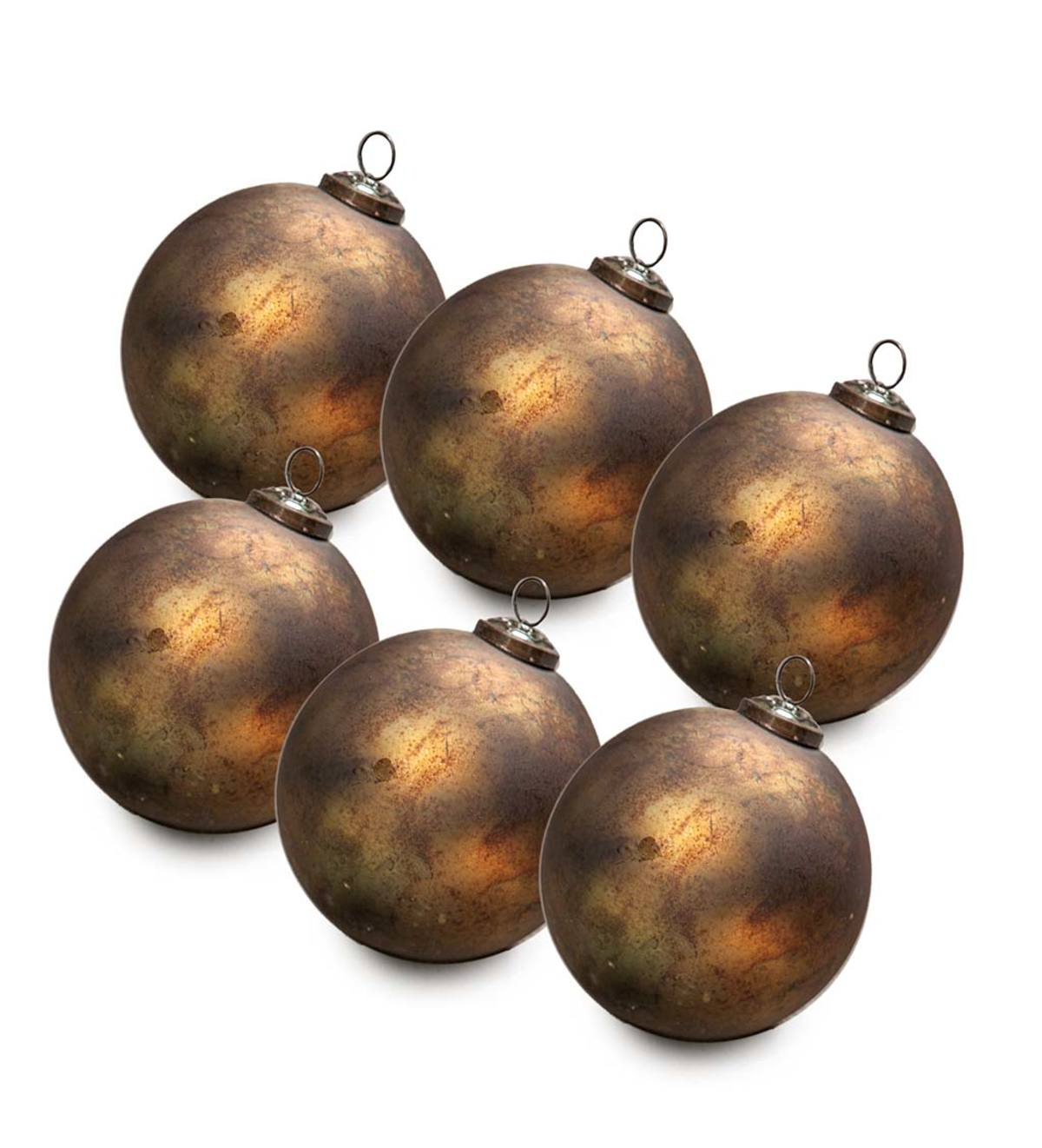 Speckled Mercury Glass Ornaments, set of 6 - Gold