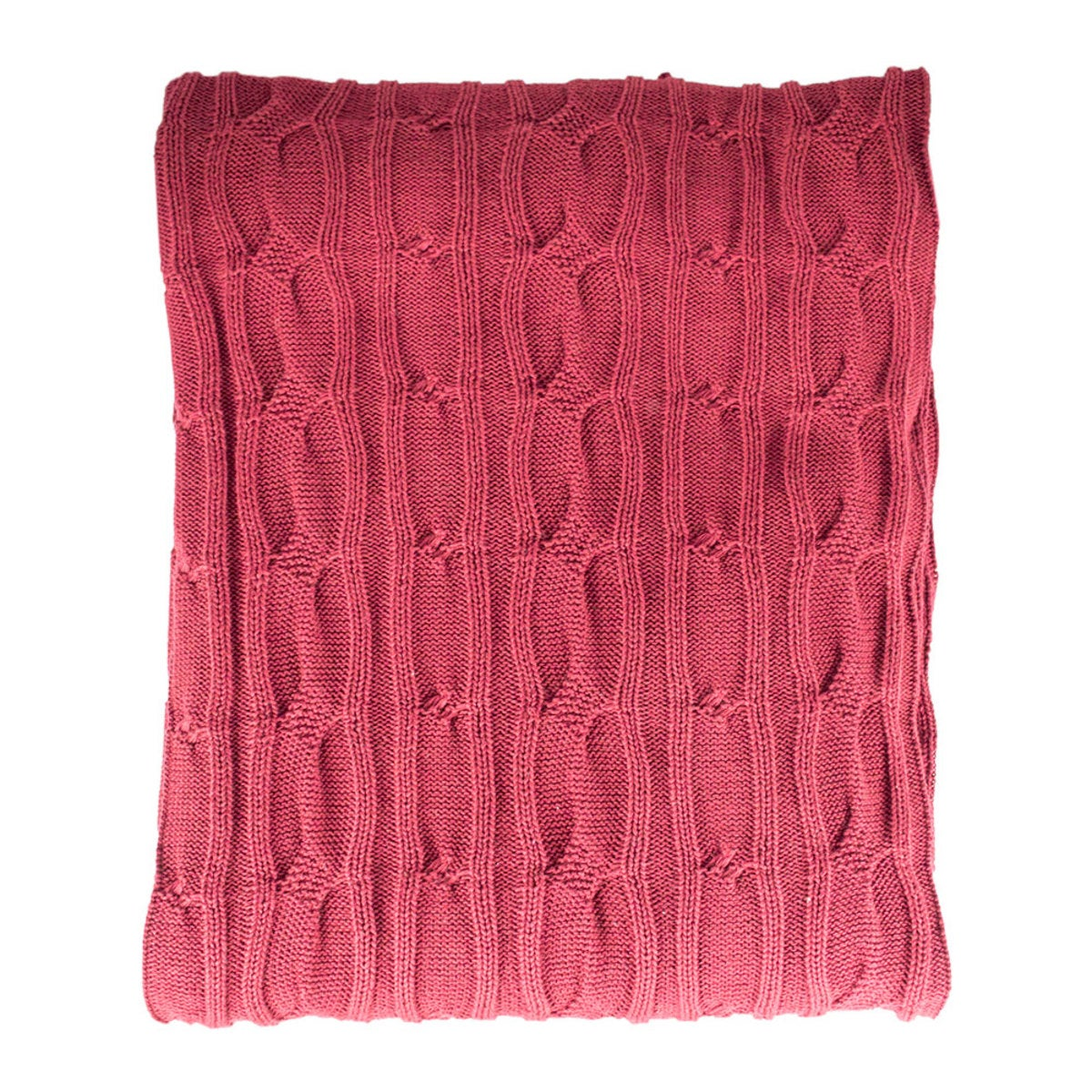 Organic Cotton Cable Knit Throw - Dark Red