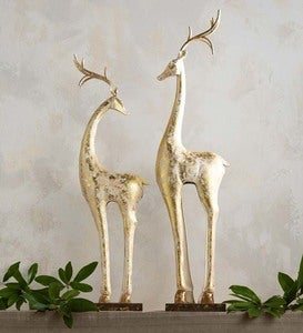 Gold and White Tall Slender Deer Statues
