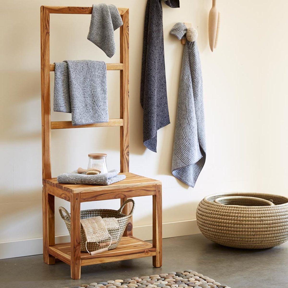 Sustainable Teak Bathroom Butler Towel Rack Amp Stool