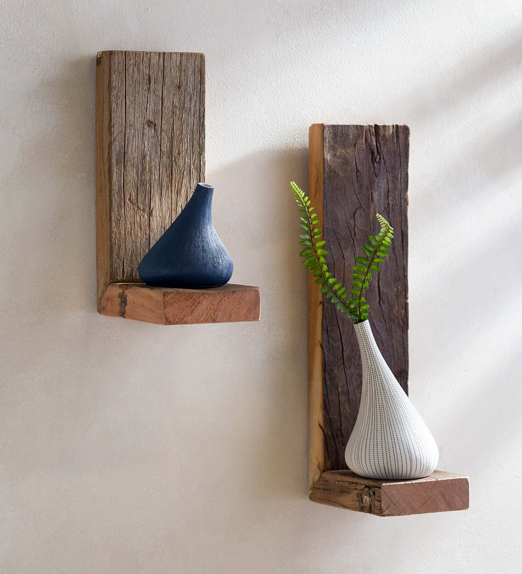 Recycled Wood Shelves, Set of 2