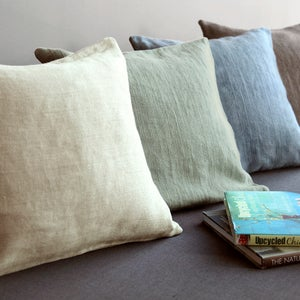 100% Pure Linen Herringbone Pillow Covers