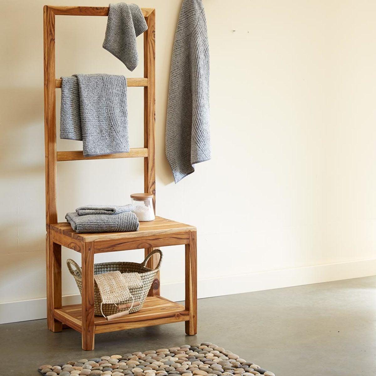 Sustainable Teak Bathroom Butler Towel Rack & Stool  VivaTerra