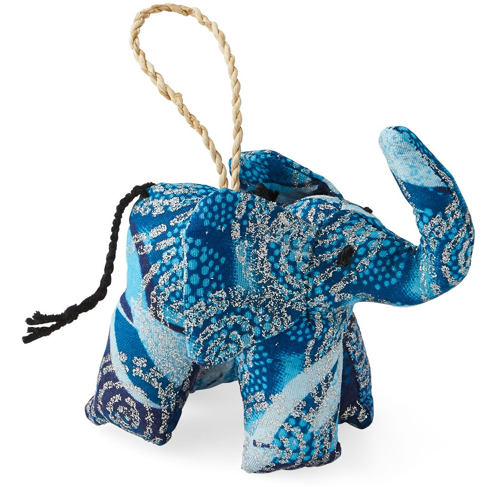 Fair Trade Colorful Cotton Elephant Ornament