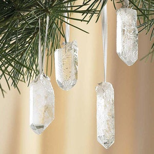 Quartz Crystal & Gold-Tipped Ornaments