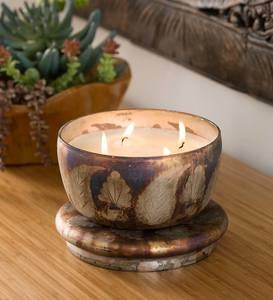Leaf Design Large 4-Wick Lidded Candle