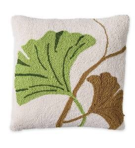 Hand Hooked Ginkgo Leaf Pillow - 16 x 16