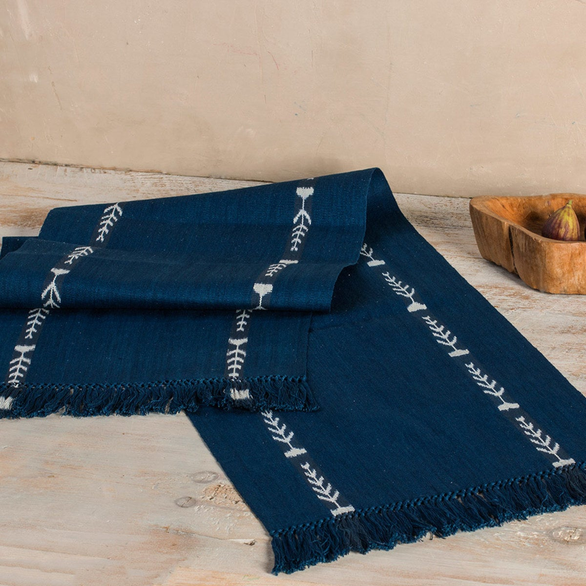 Artisan-Made Fringed Table Runner - Indigo